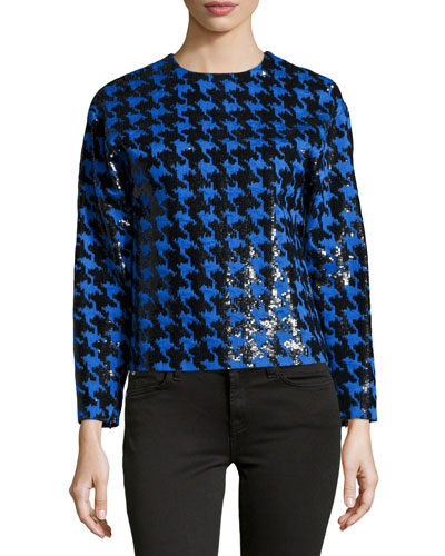 Paillette Houndstooth Long-Sleeve Top, Black/Royal