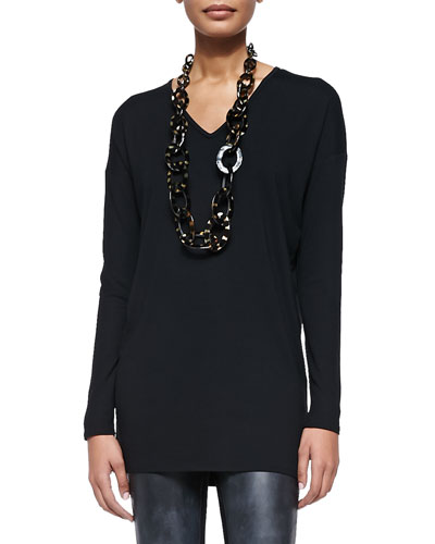 Long-Sleeve V-Neck Jersey Tunic, Black