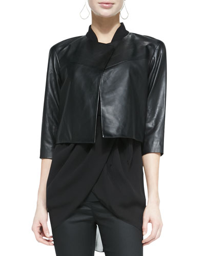 Cropped Drapey Leather Jacket