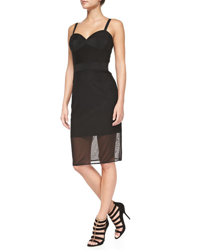 Sheer Stretch-Mesh Corset Dress