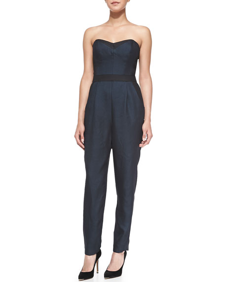 a9d0a8b33bad Milly Strapless Twill Bustier Jumpsuit