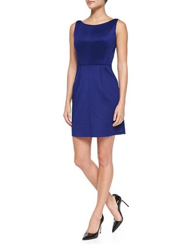 Seam-Detail Shift Dress, Cobalt