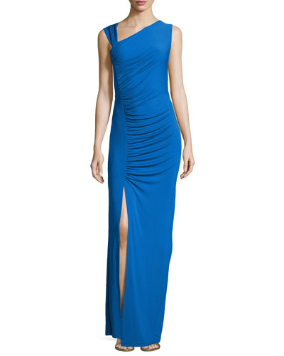 Gathered Asymmetric Jersey Gown, Royal