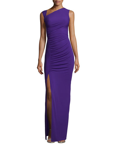 Gathered Asymmetric Jersey Gown, Grape