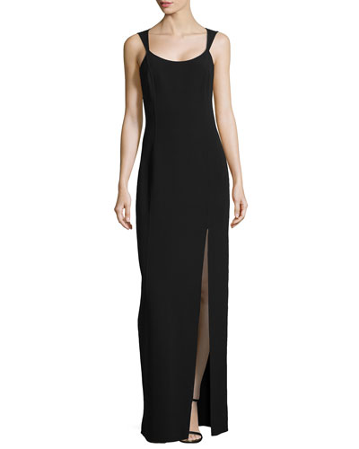Sleeveless Column Tank Slit-Front Gown, Black