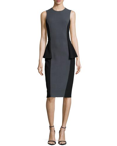 Two-Tone Peplum Dress, Graphite/Black