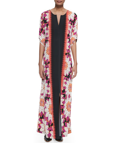 Floral-Border Long Dress, Women's