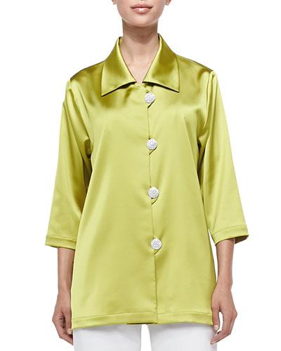 Radiant Satin Pave-Button Shirt, Citron, Petite