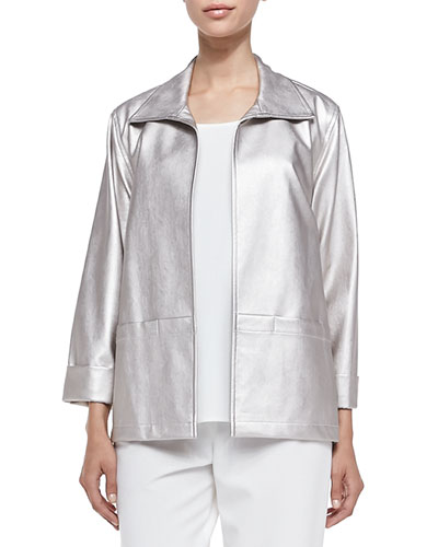 Modern Faux-Leather Jacket, Champagne