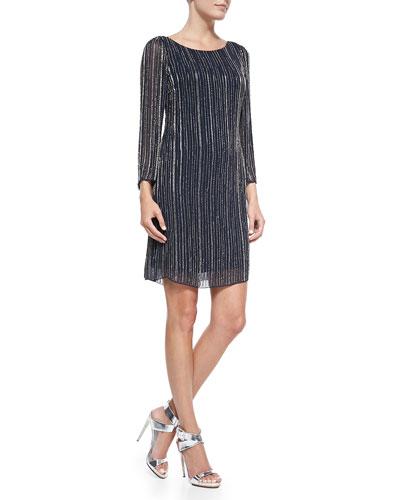 Riska Embellished Boat-Neck Dress