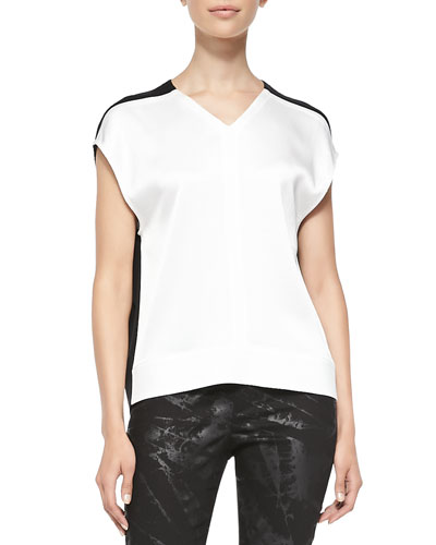 Cap-Sleeve Draped Contrast Top, Black/White