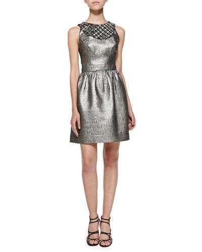 Priya Metallic Jacquard Dress, Platinum