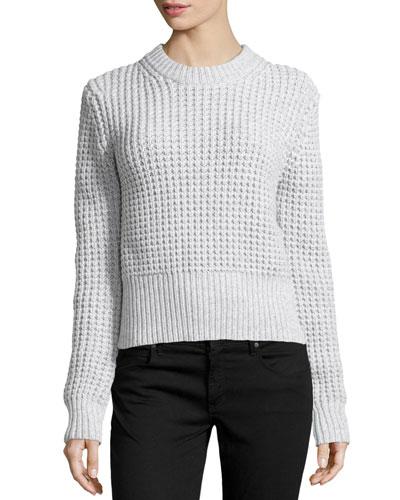 Waffle Crewneck Sweater, Pearl Melange