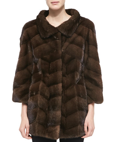 Split Mink Fur Long Jacket