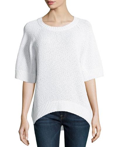 Rib-Trim Boucle Sweater, White