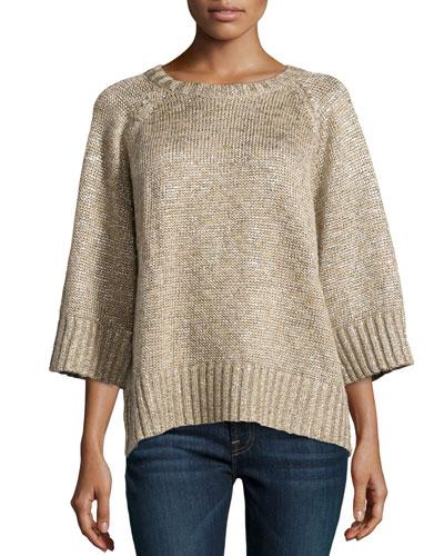 Linen-Blend 3/4-Sleeve Top
