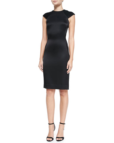 Contrast-Sleeve Fitted Combo Dress