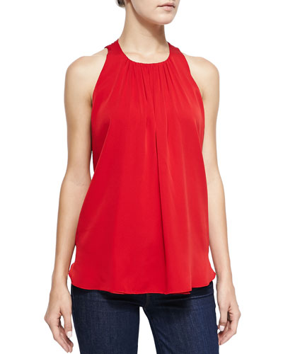 Gathered-Neck Sleeveless Silk Tank