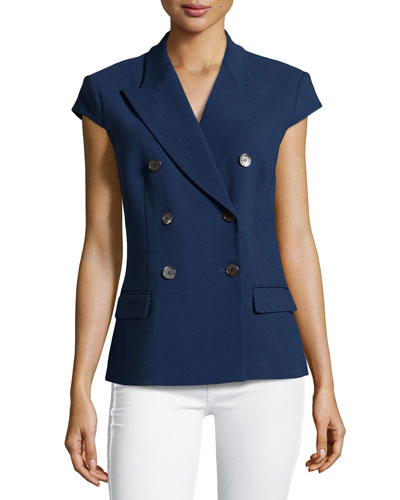 Double-Breasted Cap-Sleeve Jacket