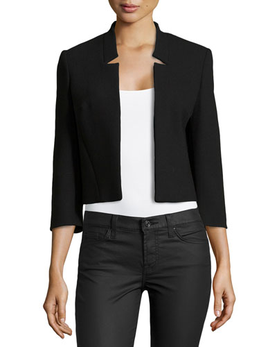 Notched-Collar Cropped Jacket, Black
