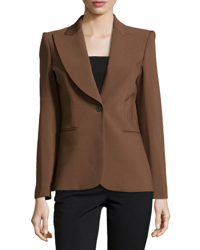 Wide-Lapel One-Button Jacket, Nutmeg