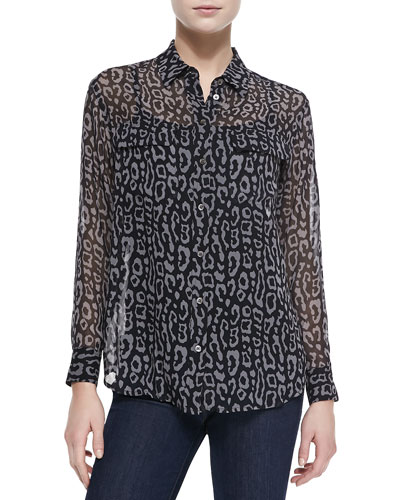 Signature Long-Sleeve Leopard-Print Blouse
