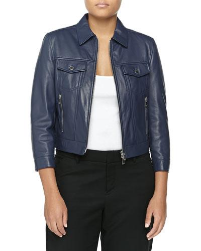 Leather 3/4-Sleeve Jacket, Indigo