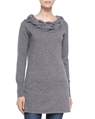 Braided-Neck Cashmere Sweater, Grey