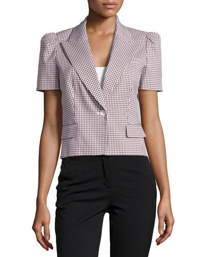 Gingham Short-Sleeve Jacket, Nutmeg
