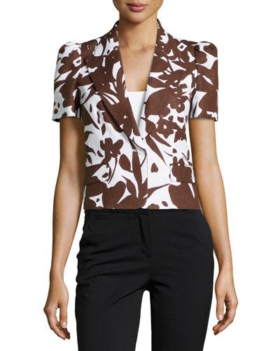Floral Short-Sleeve Jacket, White/Nutmeg