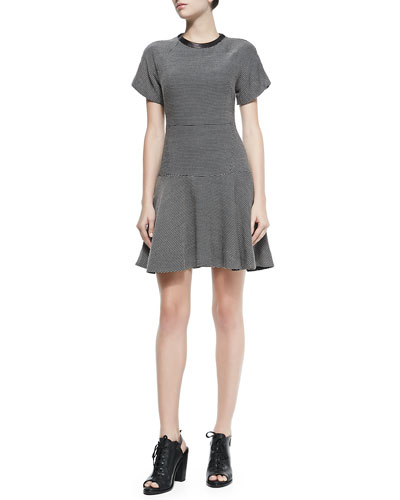 Watson Flared Micro Houndstooth Dress