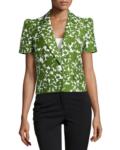 Floral Short-Sleeve Jacket, White/Grass