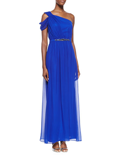 One-Shoulder Gown W/ Beaded Waist