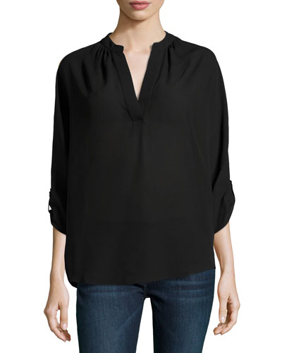 Slit-Front Silk Blouse, Black