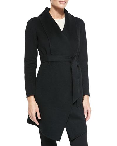 Double-Woven Cashmere Draped Coat, Black