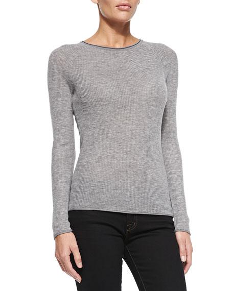 343582d5d6e8 Elie Tahari Carly Ribbed Long-Sleeve Sweater, Gray