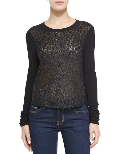 Kenzie Long-Sleeve Snake Foil-Knit Blouse