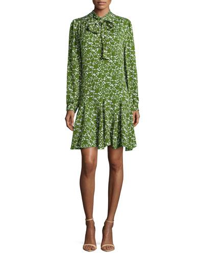 Mini Floral Georgette Bow-Neck Dress