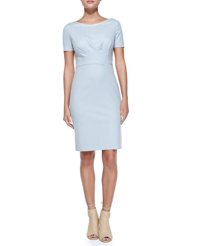 Kathleen Short-Sleeve Diagonal-Pleat Dress