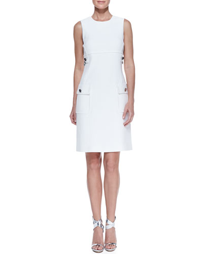 Chain-Detail Pocket Sheath Dress, White