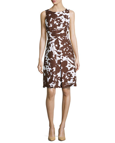 Blossom Printed Sleeveless Pleated A-Line Dress