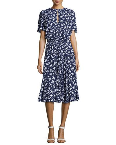 Pansy Flutter-Sleeve Floral Dress