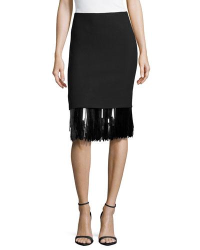 Sequin Fringe Hem Skirt, Black