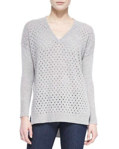 Perforated Knit High-Low Sweater