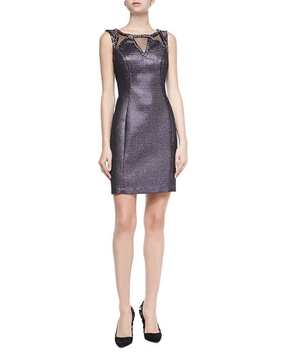 Metallic Beaded-Neck Cocktail Dress