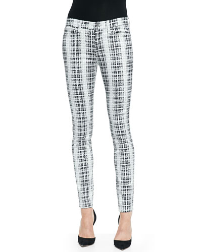 Houndstooth-Plaid Skinny Twill Pants