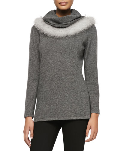 Cowl Neck Fur-Trim Sweater