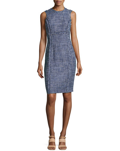 Denim Tweed Sheath Dress