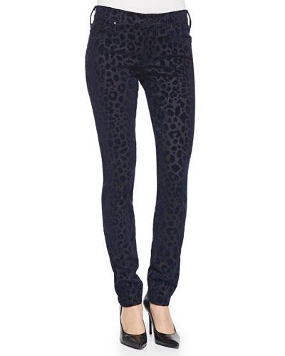 Halle Leopard-Print Twill Slim Pants
