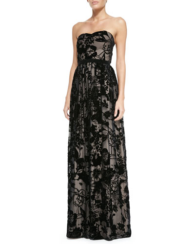 Gemma Strapless Laser-Cut Floral Gown